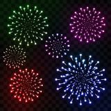 Realistic Colorful Fireworks Isolated on Transparent Background. Set of Firework Explosions with Colorful Sparkles Isolated on Transparent Background. Vector Royalty Free Stock Photo