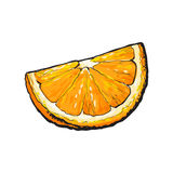 Realistic colorful hand drawn segment of juicy orange, vector illustration Royalty Free Stock Images