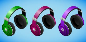 Realistic colorful headphones in isometry on blue background stock illustration
