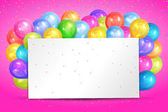 Realistic colorful helium balloons and white sheet. Party decor. Ation frame for birthday, anniversary, celebration. Vector illustration Stock Photography