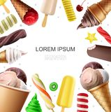 Realistic Colorful Ice Cream Template royalty free illustration