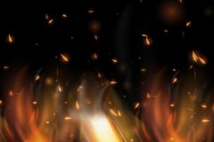 Realistic colorful image line bon fire flame with horizontal reflection smoke and sparks on black background. Abstract fire background Stock Images