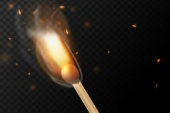 Realistic colorful image line bon fire flame with horizontal reflection smoke and sparks on black background. Abstract fire background Royalty Free Stock Images