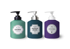 Realistic Colorful Liquid Soap Dispensers. Vector Bottles with Vintage Labels. Product Packaging Design. Containers with Black and White Plastic and Silver stock illustration