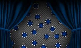 Realistic colorful red velvet curtain. Under the curtains gambling chips gambling. Option curtain at home in casino. Vector Illustration. EPS10 stock illustration