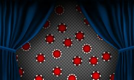 Realistic colorful red velvet curtain. Under the curtains gambling chips gambling. Option curtain at home in casino. Vector Illustration. EPS10 royalty free illustration