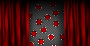 Realistic colorful red velvet curtain. Under the curtains gambling chips gambling. Option curtain at home in casino. Vector Illustration. EPS10 vector illustration