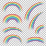 Realistic colourful rainbows shapes or objects set stock image