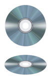 Realistic compact disc on white background. Computer-made illustration: isolated realistic compact disc on a white background. Frontal and perspective Royalty Free Stock Photography