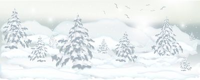 Realistic banner of winter trees, pines and white snow for desig vector illustration