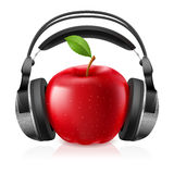 Realistic computer headset with red apple Royalty Free Stock Photo