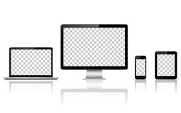 Realistic computer, laptop, tablet and mobile phone with transparent wallpaper screen isolated royalty free illustration