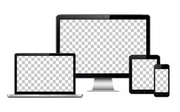Realistic computer, laptop, tablet and mobile phone with transparent wallpaper screen isolated stock illustration