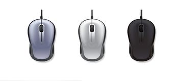 3 realistic computer mouse on white backgroundgrey, light-grey and black. Vector illustration. Stock Photos
