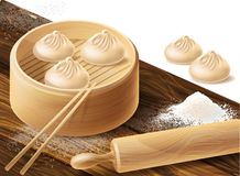 background with Chinese dumplings royalty free stock photo