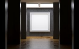 Realistic Concrete Gallery Room With Big Empty Frame. 3D rendering Of Realistic Concrete Gallery Room With Big Empty Frame Stock Photo
