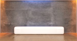 Realistic Concrete Room With White Stand. 3D Rendering of Realistic Concrete Room With White Stand In The Middle Royalty Free Stock Photos