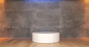 Realistic Concrete Room With White Stand. 3D Rendering of Realistic Concrete Room With White Stand In The Middle Stock Photo