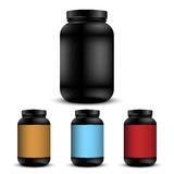 Realistic containers for sports nutrition. Vector set Royalty Free Stock Photos