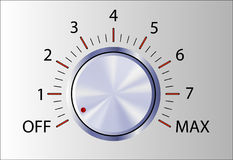 Realistic control knob with marks. And Off and Max vector illustration