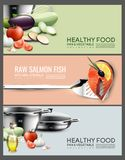 Realistic Cooking Elements Horizontal Banners. With vegetables salmon fish steak and kitchen utensil vector illustration Stock Photos