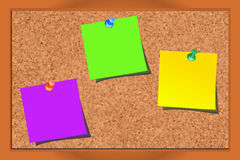 Realistic corkboard with pushpins and blank paper. In different colors vector illustration