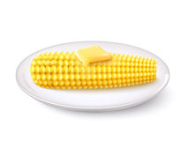 Realistic Corn Cob. With butter on white saucer vector illustration Royalty Free Stock Image