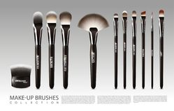 Realistic Cosmetic Accessories Set. With powder blush fan concealer liner lip and eye shadow brushes  vector illustration Royalty Free Stock Image