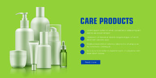 Realistic cosmetic bottle advertising Royalty Free Stock Image