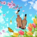 Realistic cosmetic bottle spring landscape green grass blue sky light background tulip flower butterfly sakura cherry. Blossom. 3d medicine drug allergy Royalty Free Stock Photos