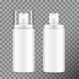Realistic Cosmetic spray bottle. Dispenser for cream, balsam and other cosmetics. With lid and without. Vector Template royalty free illustration