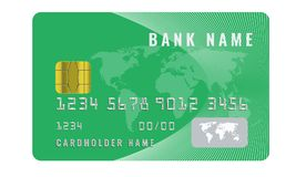 Realistic credit card design template with a chip frontside view mock up. Geen color. Realistic credit card design template with a chip frontside view mock up vector illustration