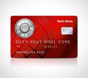 Realistic credit card template with code lock. Online payments security concept vector illustration Royalty Free Stock Photo
