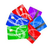 Realistic credit cards set. Stock Images