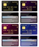Realistic credit cards, view from both sides, set. Vector illustration, isolated. stock illustration