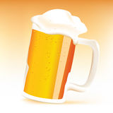 Realistic cup of beer. On blur background Royalty Free Stock Photo