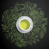 Realistic cup of green tea with circle doodles. Stock Image