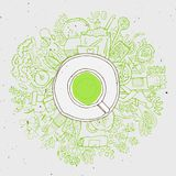 Realistic cup of green tea with circle doodles.  Stock Photo