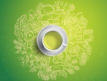 Realistic cup of green tea with circle doodles. Sketched green tea healthy elements, natural products and objects Stock Image