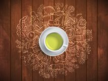 Realistic cup of green tea with circle doodles. Sketched green tea healthy elements, natural products and objects Stock Photography
