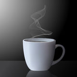 Realistic cup of hot tea or coffee with smoke Royalty Free Stock Photos