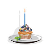 Realistic cupcake with candles. And berries. Colored Vector illustration Royalty Free Stock Image