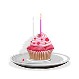 Realistic cupcake with candles. And berries. Colored Vector illustration Royalty Free Stock Photography