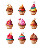 Realistic cupcakes set on white. Eps10 Royalty Free Stock Photography