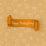 Realistic curved orange Thanksgiving Ribbon Royalty Free Stock Image