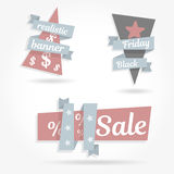 Realistic curved paper banner. Set graphics ribbon. Black friday sale. Vector illustration website elements. Realistic curved paper banner. Ribbon. Black friday Royalty Free Stock Photography
