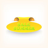 Realistic curved ribbon icon sale summer. Vector Stock Image