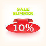 Realistic curved ribbon icon sale summer. Vector Royalty Free Stock Images