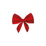 Realistic cute red ribbon with bow. Illustration Stock Photography