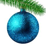 Realistic cyan Christmas ball or bauble with glitter sparkles and fir branch isolated on white background. Vector illustration. Vector realistic illustration Royalty Free Stock Photography